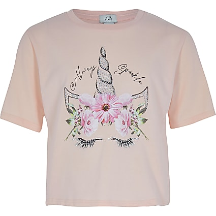 Girls pink unicorn tee