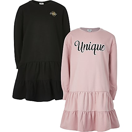 Girls pink 'Unique' smock sweat dress 2 pack