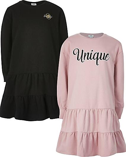 Girls pink 'Unique' smock sweat dress 2 pack