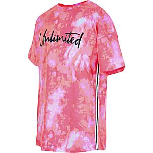 Roze T-shirt met 'Unlimited'-tekst en tie-dyeprint voor meisjes