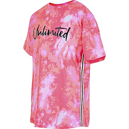 Girls pink 'Unlimited' print tie dye T-shirt