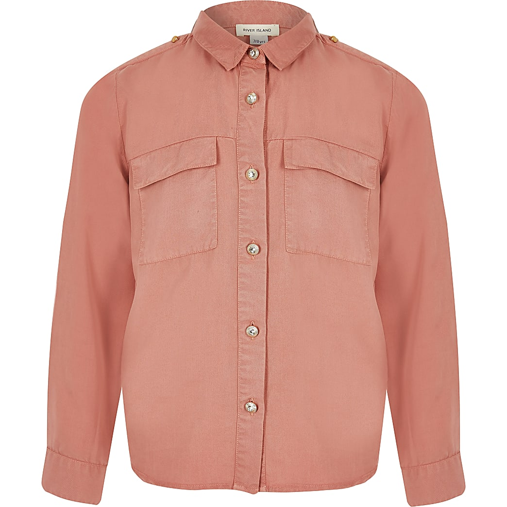 Roze utility-overhemd voor meisjes