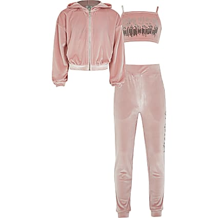 Girls pink velour 3 piece tracksuit