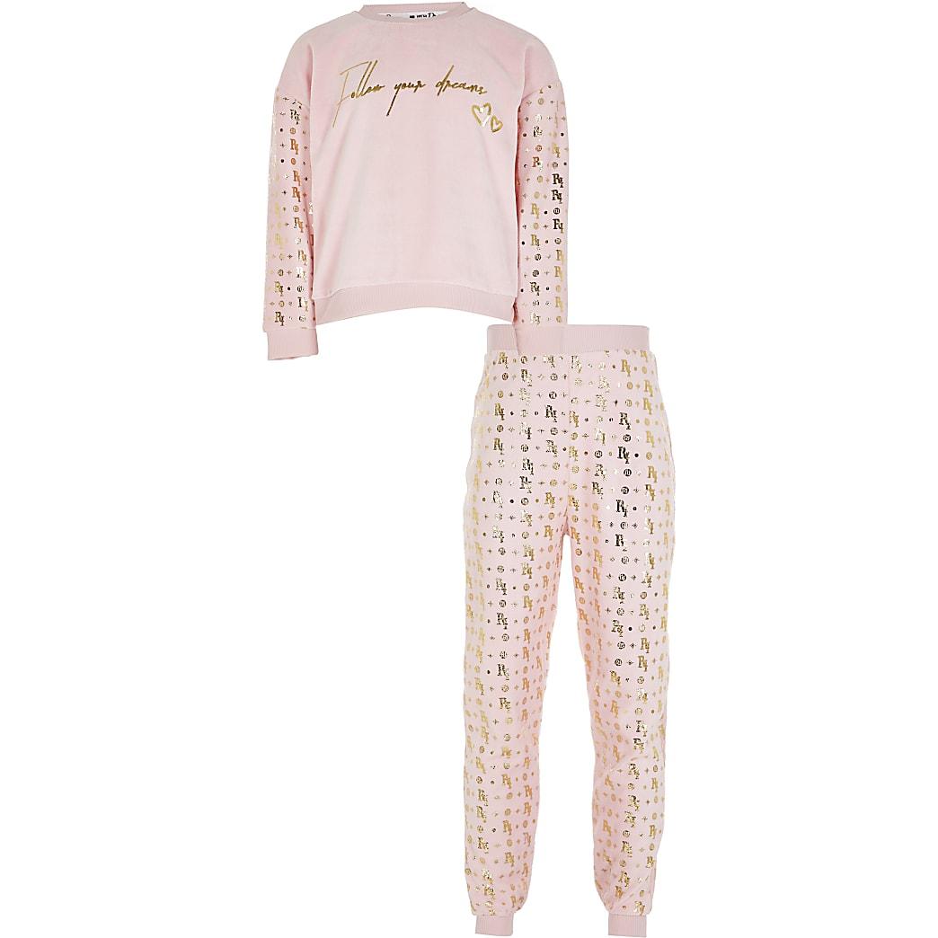 Girls pink velour foil print pyjamas