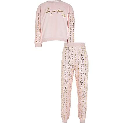 Girls pink velour foil pyjama set