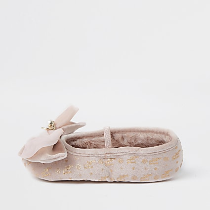 Girls pink velvet bow ballet slippers