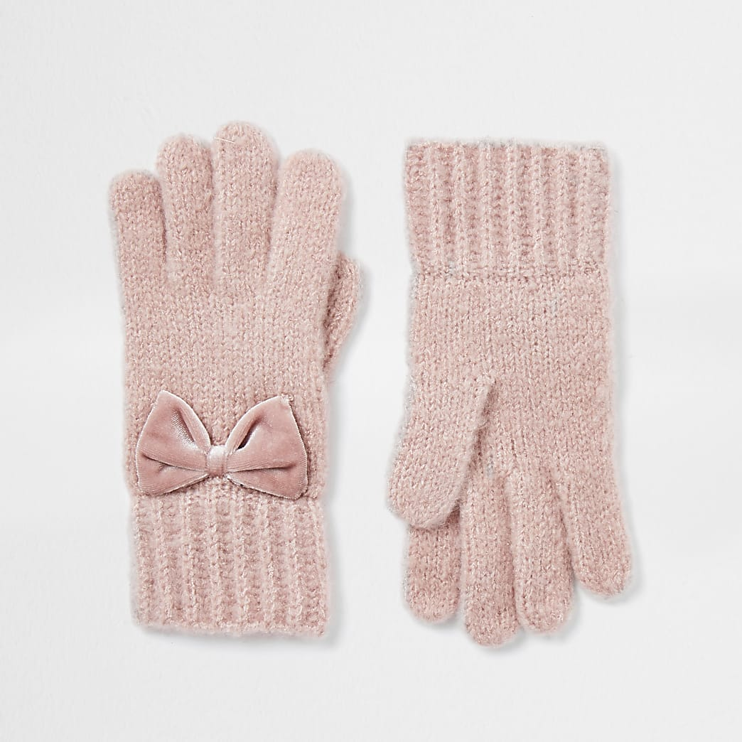 Girls pink velvet bow gloves