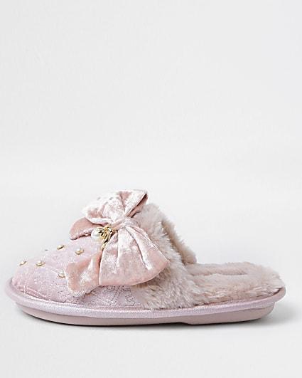 Girls pink velvet RI monogram bow slippers