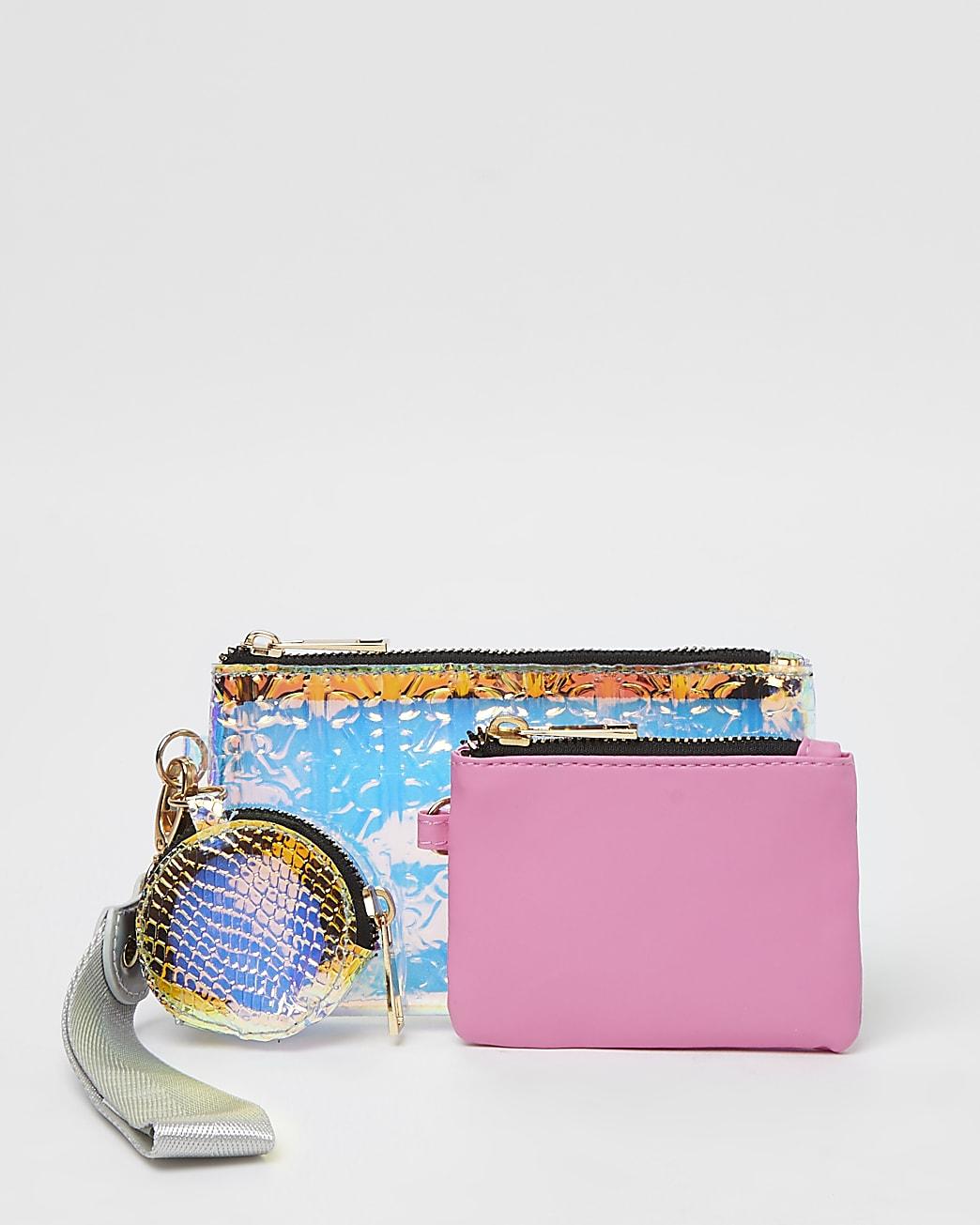 Girls pink vinyl triple pouch purse