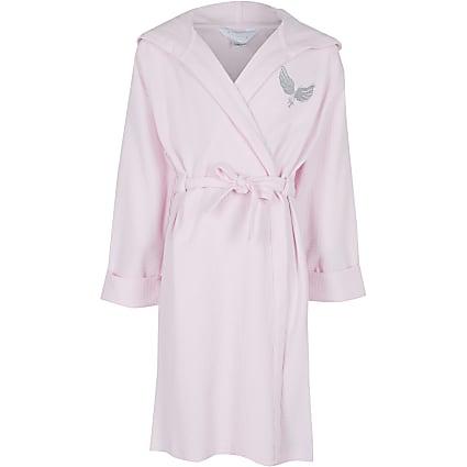 Girls pink waffle robe