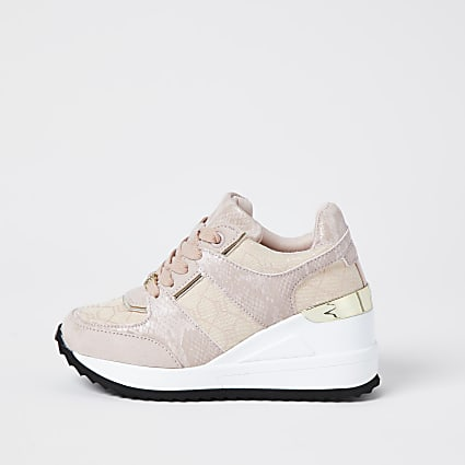 Girls pink wedge lace up trainers