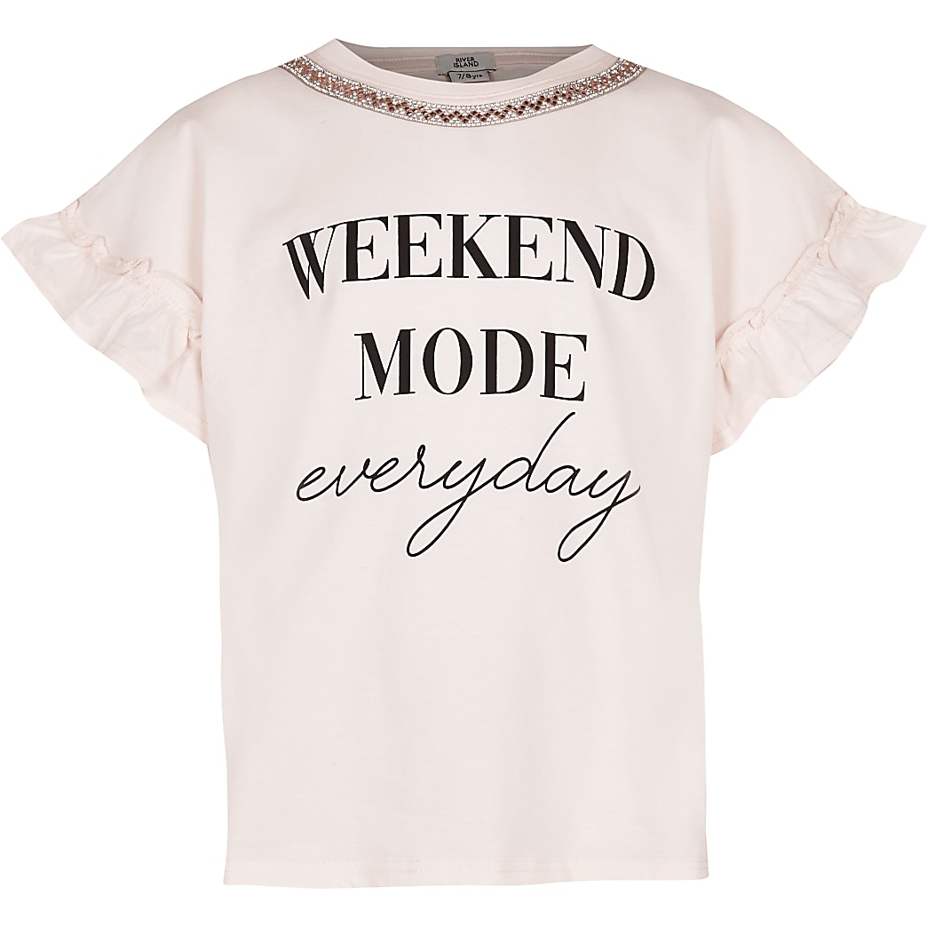 Girls pink 'Weekend mode' t-shirt