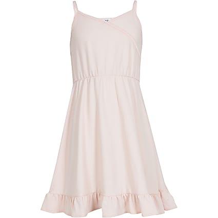 Girls pink wrap dress