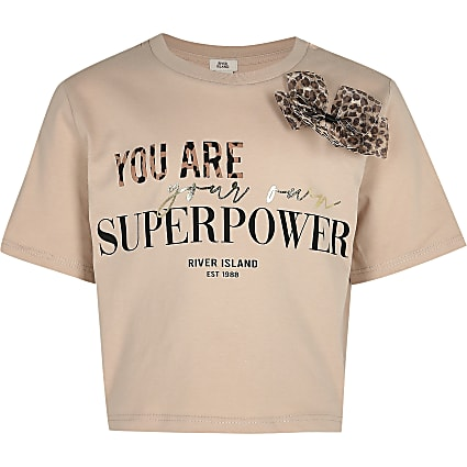 Girls pink 'Your own superpower' t-shirt