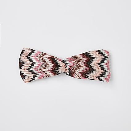 Girls pink zig zag crochet headband