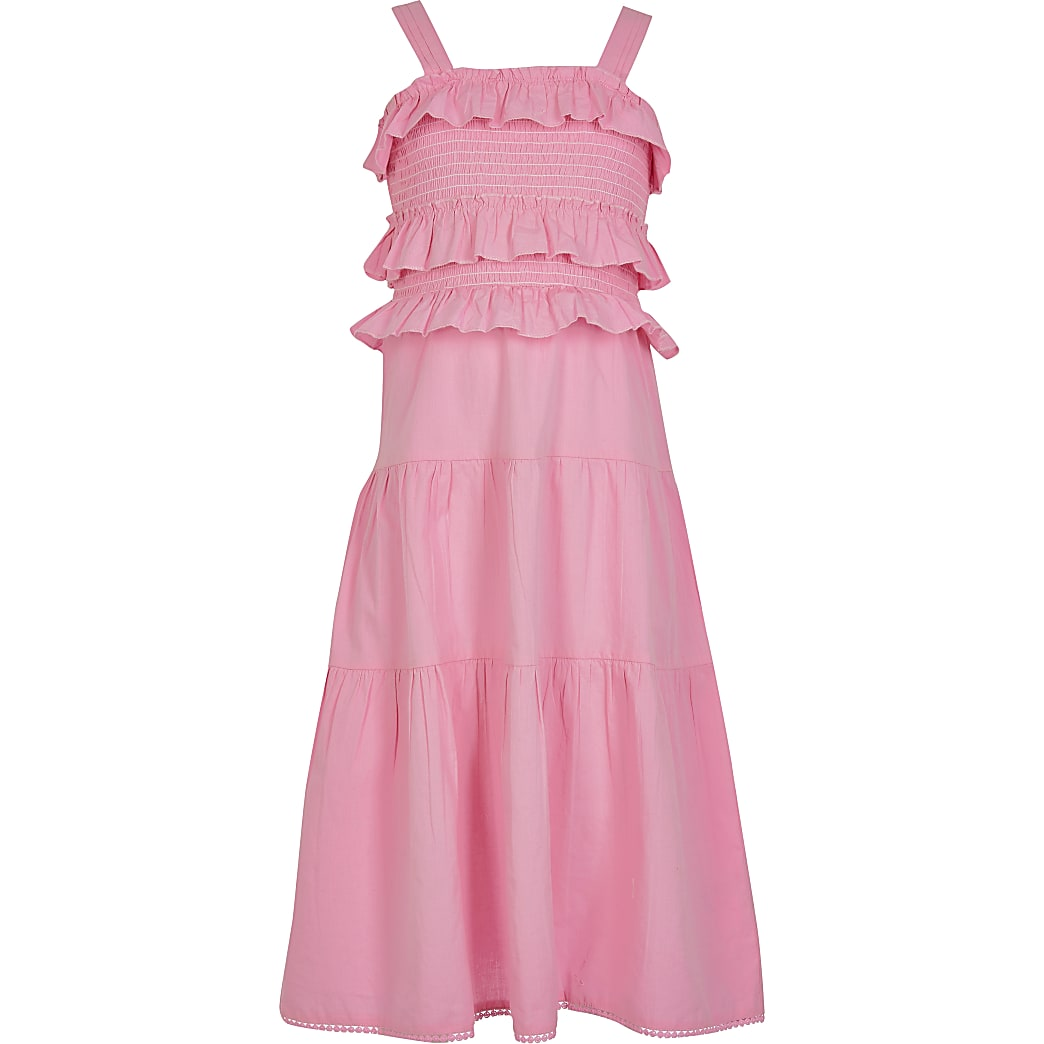 Girls pnk frill maxi dress