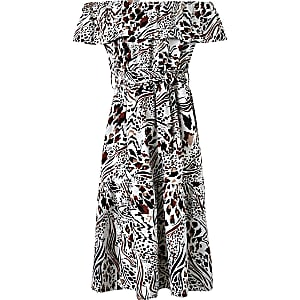 Girls Print Bardot Midi Dress