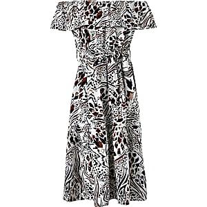 Robe Bardot mi-longue imprimée pour fille