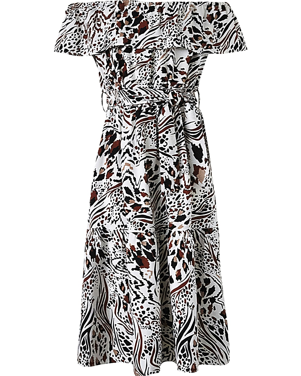 Girls Print Bardot Midi Dress