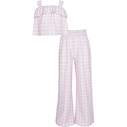 Girls purple  gingham cami and trouser outfit