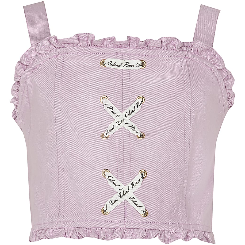 Girls purple  lace up denim crop top