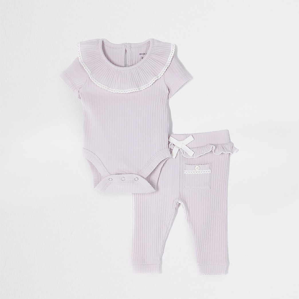 Girls purple babygrow outfit
