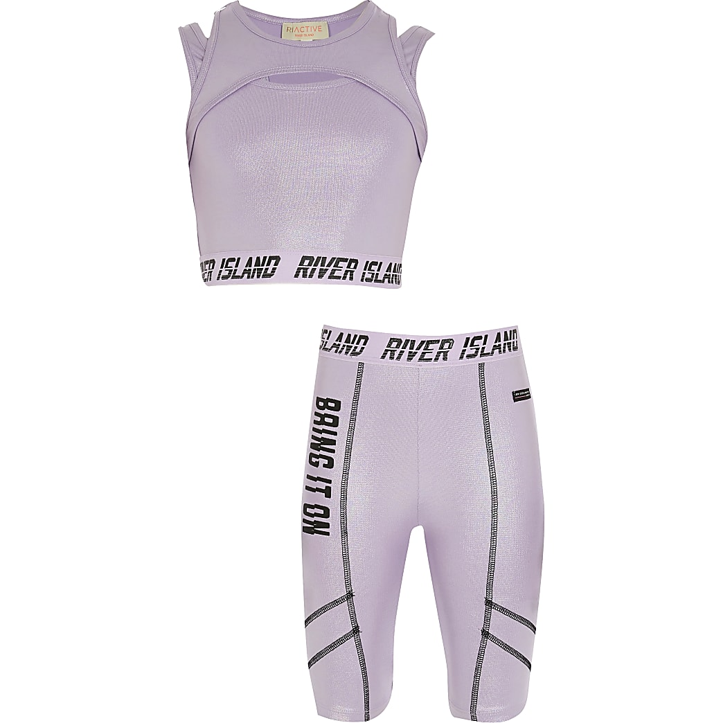 Girls purple 'Bring It On' print set