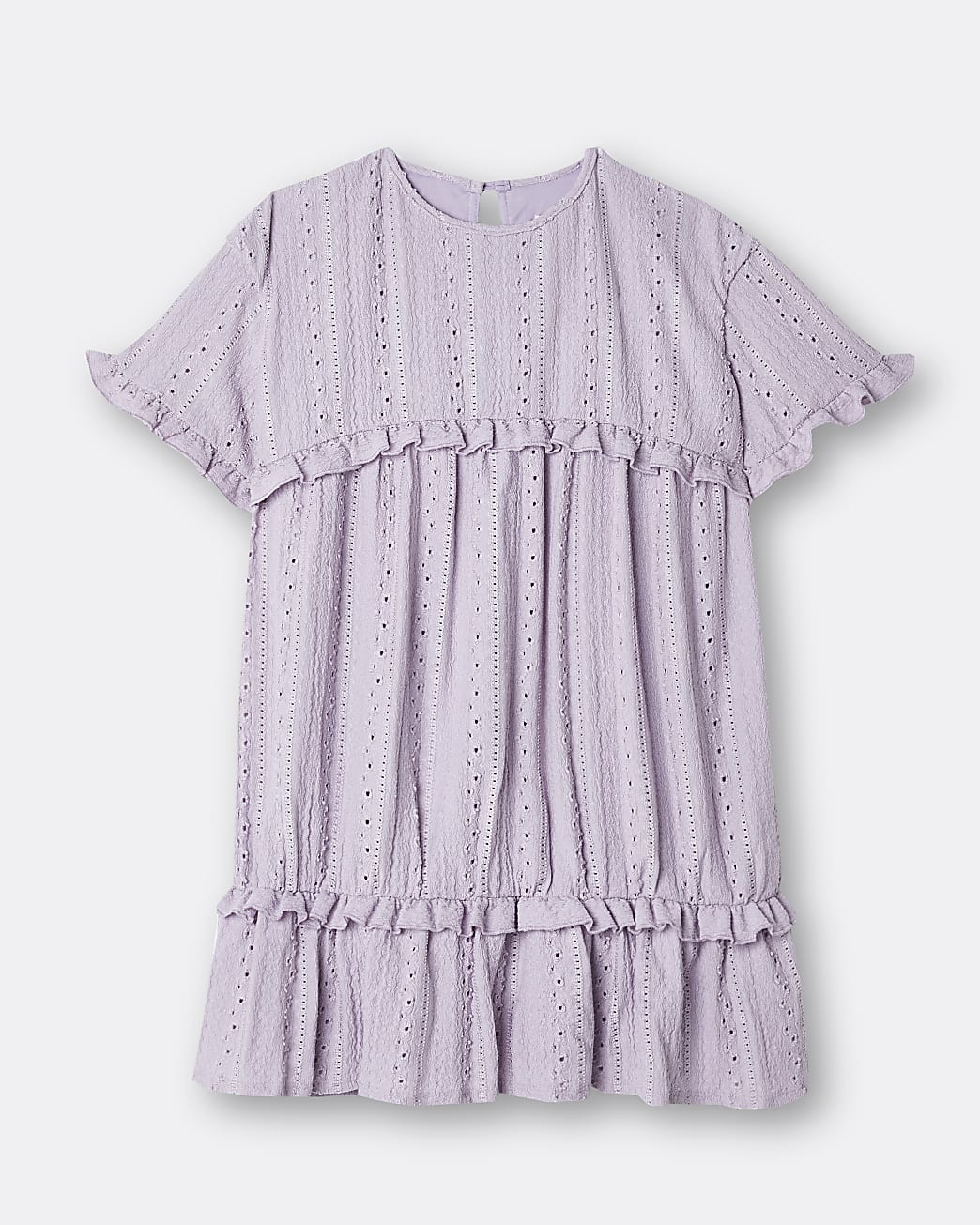 Girls purple broderie frill tiered dress