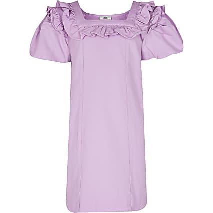 Girls purple bubble sleeve denim shirt dress