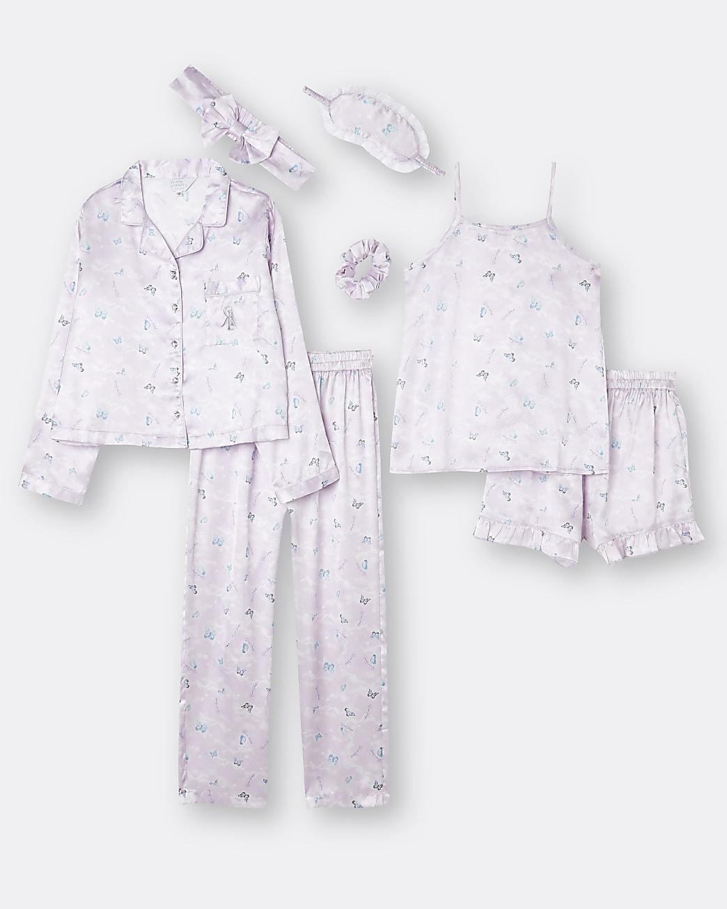 Girls purple butterfly sleepover set