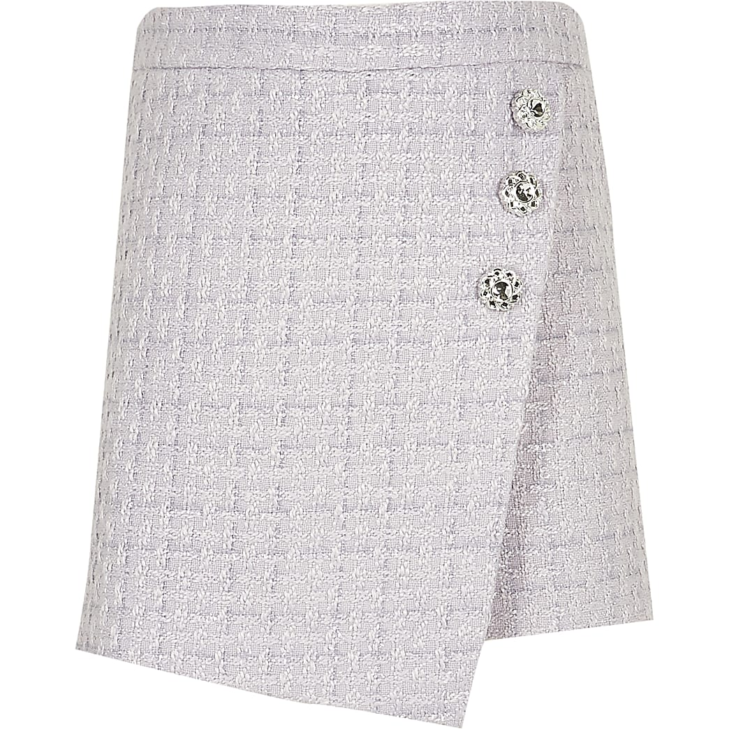 Girls purple button detail wrap skort