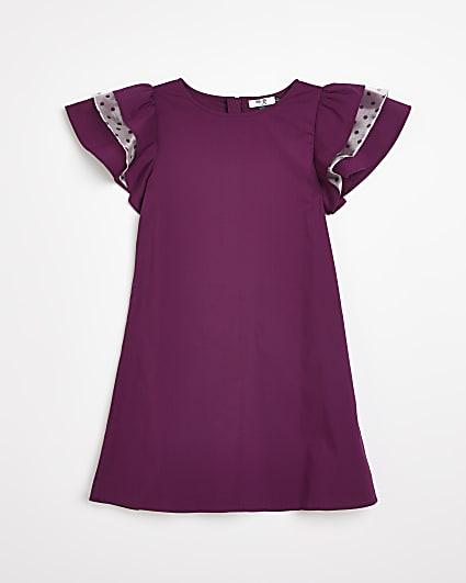 Girls purple Chi Chi frill sleeve dress