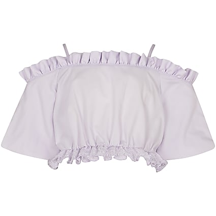 Girls purple cold shoulder bardot top