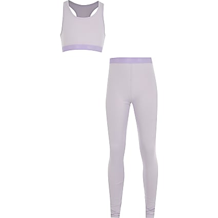 Girls purple crop top loungewear set
