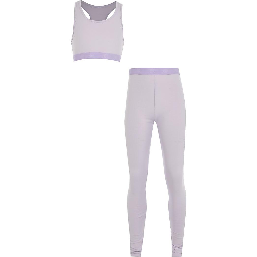 Girls purple crop top loungewear set