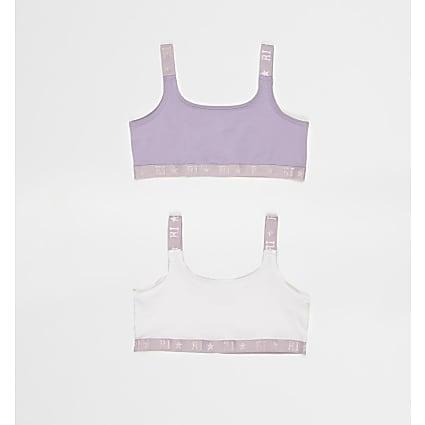 Girls purple crop tops 2 pack