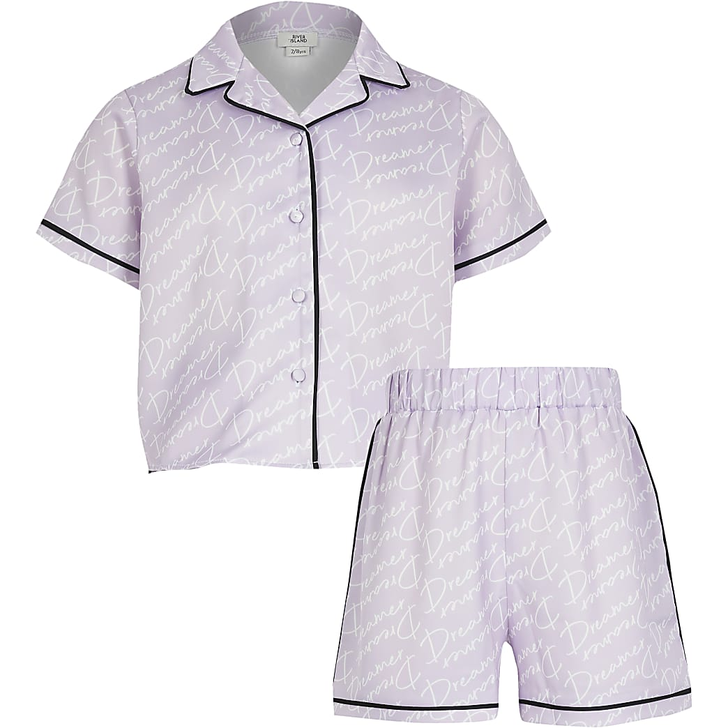 Girls purple 'Dreamer' satin pyjama set