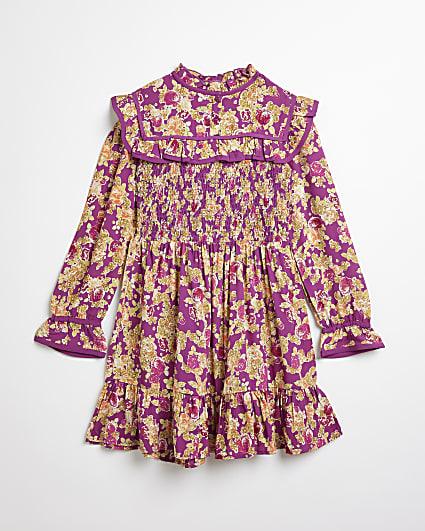 Girls purple floral frill hem dress