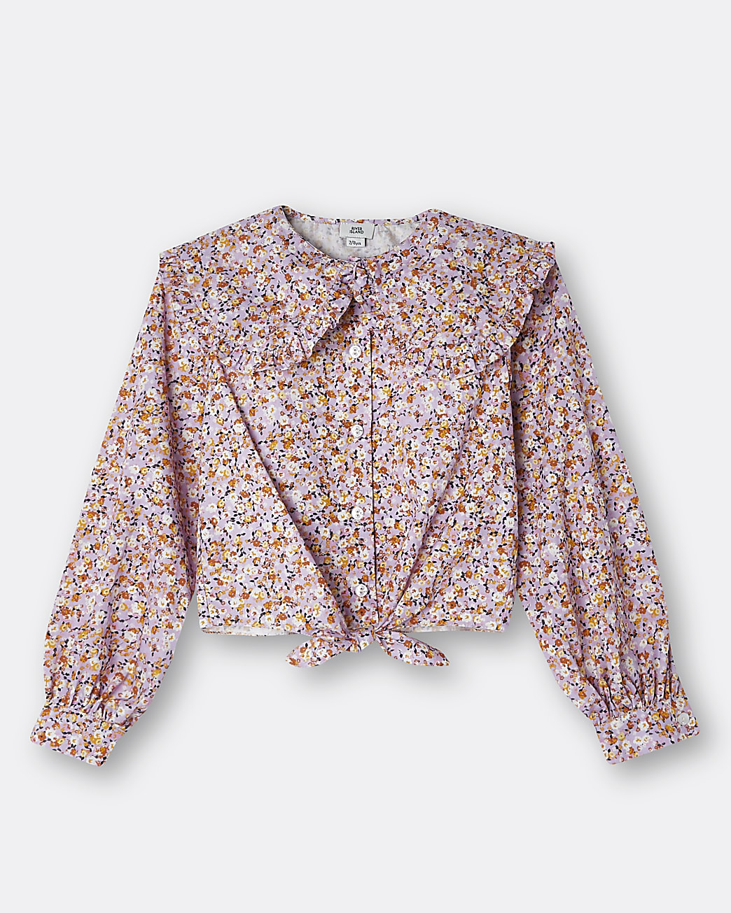 Girls purple floral tie front collar shirt