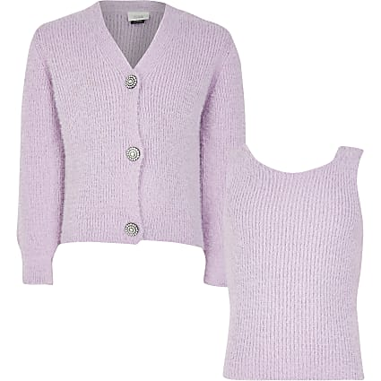 Girls purple fluffy cami and cardi set