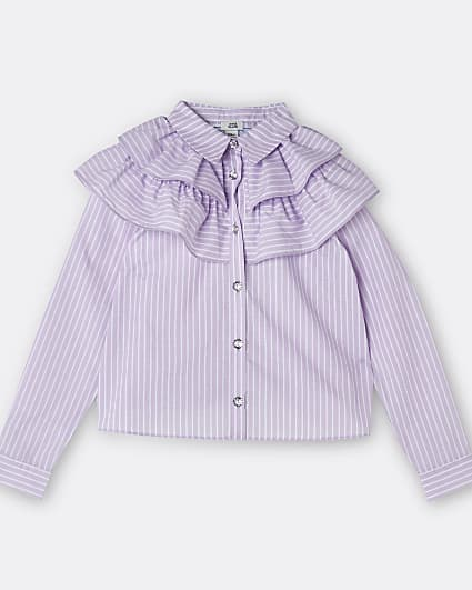 Girls purple frill collar shirt