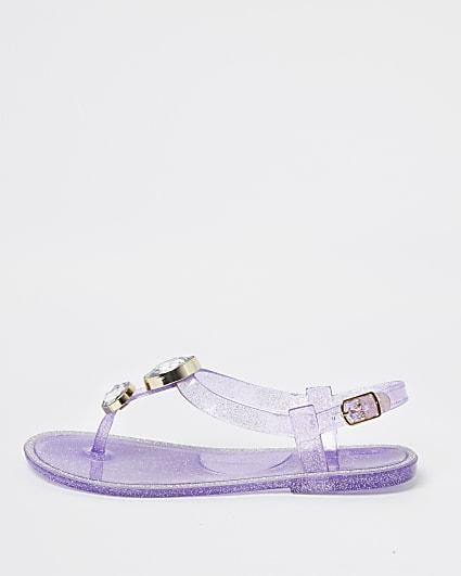 Girls purple gem jelly sandals