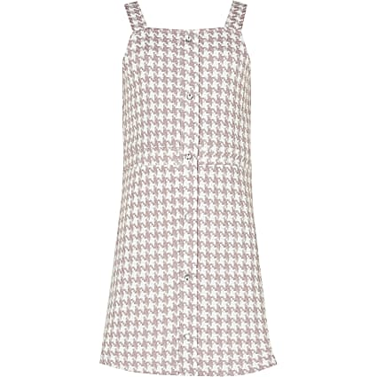 Girls purple gingham pinny dress