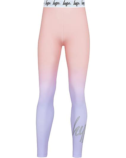 Girls purple Hype tie dye leggings