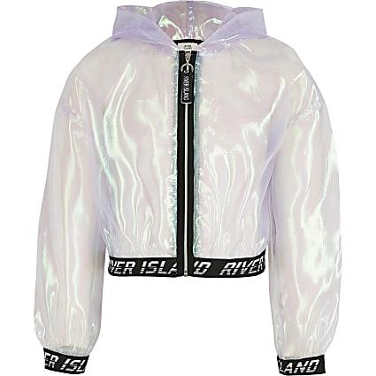 Girls purple iridescent organza bomber jacket