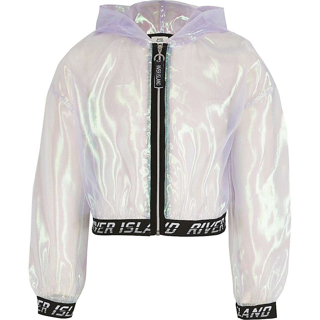 Girls purple iridescent organza bomber jacket