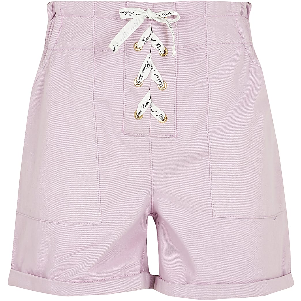 Girls purple lace up paperbag shorts