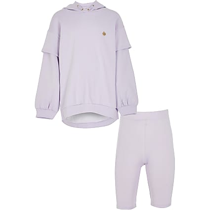 Girls purple long line sweat short set