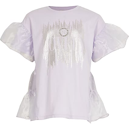 Girls purple 'lovely' organza ruffle t-shirt