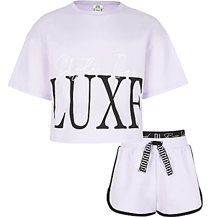 Girls purple 'Luxe' t-shirt and shorts set